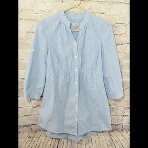Anthropologie Odille Blue & White Button Down~Sz 4